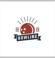 bowling sport team logo vector image vector image