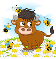 bull and bee vector image