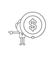 businessman character holding dollar coin black vector image