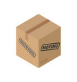 cardboard box moving isolated pasteboard case on vector image