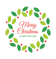 christmas card with christmas wreath vector image