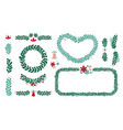 christmas wreath and frame set vector image
