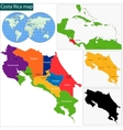 Costa Rica map vector image vector image