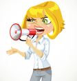 Cute blond girl shouts in a megaphone vector image