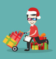 deliveryman using delivery cart in gift boxes vector image