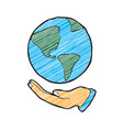 digitally drawn hand and earth design hand vector image