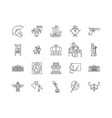 exhibition business line icons signs set vector image