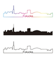 Fukuoka skyline linear style with rainbow vector image vector image