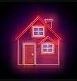 glow cozy house with red roof vector image