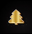 golden christmas tree design isolated on black vector image vector image
