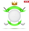 Golf clubs and ball with ribbons vector image vector image