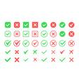 green check mark and red cross icon set circle vector image vector image