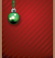 green christmas holiday ornament on a red pattern vector image vector image