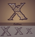 Halloween decorative alphabet - X letter vector image vector image