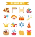 Happy Purim carnival set of design elements icons vector image vector image