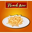 heap of French fries on a white plate vector image vector image
