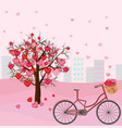 hearts love tree and bicycle romantic background vector image
