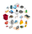 infrastructure icons set isometric style vector image vector image