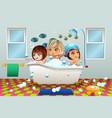 little girls having a bubble bath