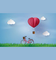 love and valentine dayorigami made hot air balloon vector image vector image