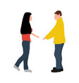 man and woman greet each other while greeting vector image vector image