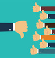 many hands with thumbs up but get one dislike vector image vector image