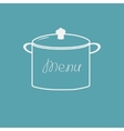 Menu cover with saucepan Flat design style vector image vector image
