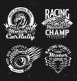 motors racing cars rally motorsport symbols vector image