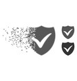moving pixel halftone shield valid icon vector image