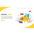 online game website landing page design vector image vector image