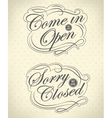 Open and Closed Vintage retro signs vector image vector image