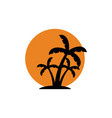 palm tree sunset icon design template isolated vector image vector image