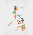 philippines map with states and modern round vector image