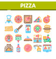 pizza delicious food collection icons set vector image vector image
