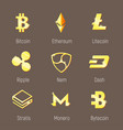 popular cripto currency logo set vector image