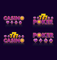 purple logo ideas text casino and poker vector image vector image