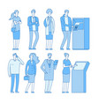 queue atm people in line to banking atm cash vector image vector image