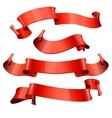 red glossy ribbons on a white background vector image vector image