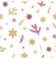 red gold snowflakes branch on white background vector image vector image