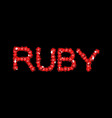 ruby is lettering symbol red gemstone emblem vector image