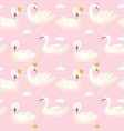 seamless pattern with white swans baby background vector image vector image