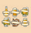 set different glasses beer with ribbon vector image