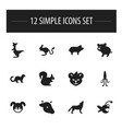 set of 12 editable animal icons includes symbols vector image vector image