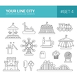 Set of flat design amusement park line icons vector image vector image