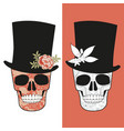 skulls decorated with floral pattern wearing top vector image