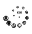 spiral striped balls abstract background 3d vector image