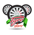tyre store or repair logo with green ribbon vector image vector image