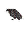vulture bird spiral pattern color silhouette vector image