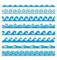 water waves blue borders set marine nautical vector image