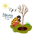 woman planting tree in a landing hole isolated on vector image